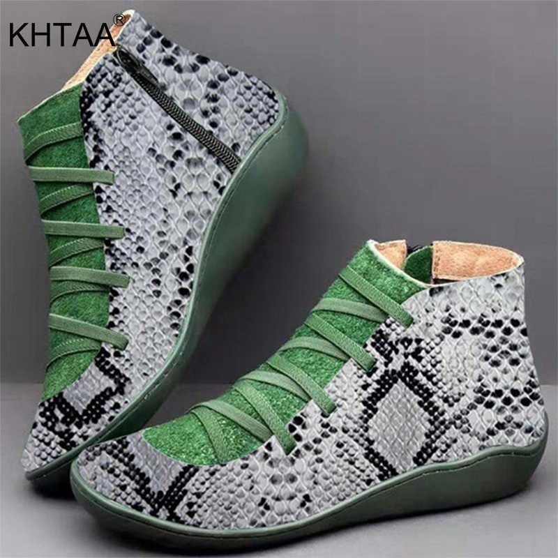 Kadın PU deri yarım çizmeler yılan derisi kadın leopar sonbahar kış Vintage kadınlar serseri çizmeler düz bayan ayakkabıları kadın Botas
