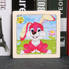 цена 9 Pcs Kids Wooden 3D Puzzle Jigsaw Tangram Toy for Children Baby Cute Cartoon Animal Puzzles Infant Educational Learning Toys онлайн в 2017 году