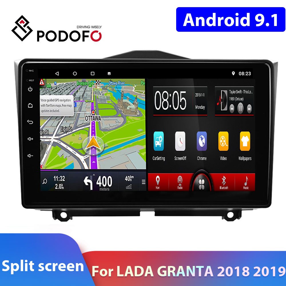 Podofo 2Din Android Car Radio Android 9.1 For LADA Car Multimedia Player 2 DIN Autoradio For LADA GRANTA 2018 2019 Car Stereo