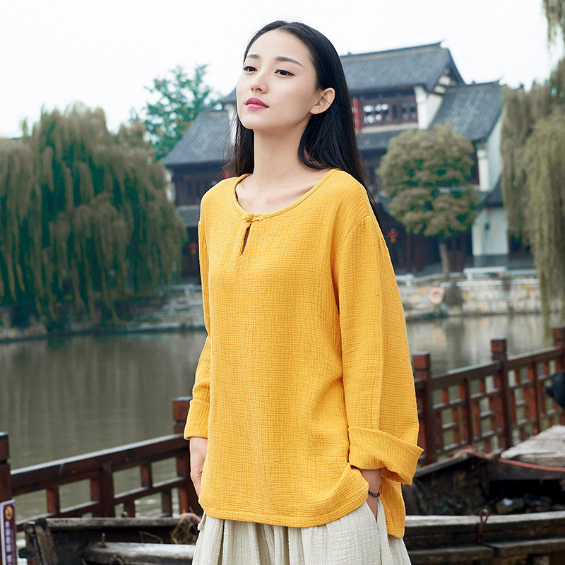 <font><b>Plus</b></font> <font><b>Size</b></font> M-7xl <font><b>8xl</b></font> <font><b>Women</b></font> Summer <font><b>Tops</b></font> Chinese Style Long Sleeve Solid Button Shirts O-Neck Female <font><b>Tops</b></font> Autumn Clothes image