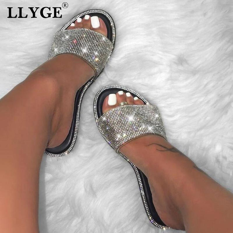 New Summer Women Crystal Slippers Glitter Flat Soft Bling Female Candy Color Flip Flops Indoor Ladies Slides Hot Beach Shoes(China)