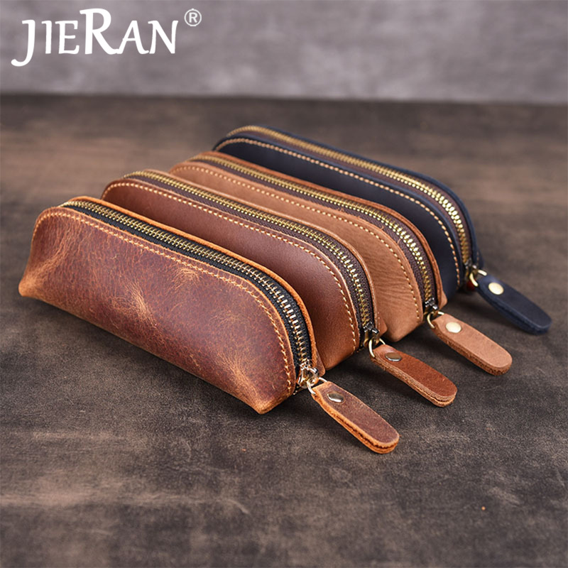 Key Wallet Key Holder Handmade Genuine Leather Vintage Retro Zipper Long Keys Bag Case Keychain Wallet Key Holder Organizer