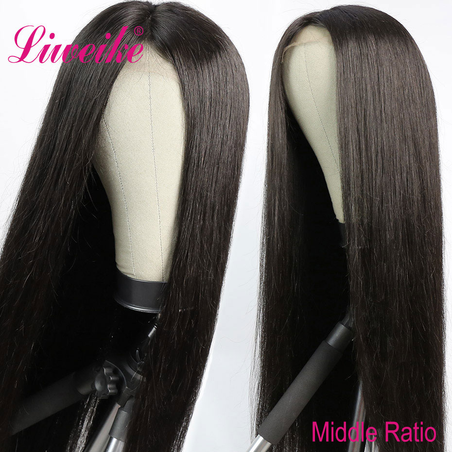 Liweike Straight Remy Human Hair Bundles With 4*4 Medium Brown Lace Closure Frontal Wig Sewing Wig Silky 150% Density 1B Color