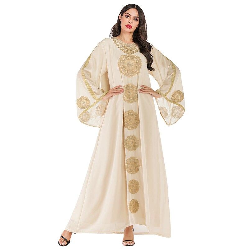 Siskakia Fashion Arabian Long Dress Chic Ethnic Embroidery Abaya Dresses Loose Flare Sleeve Muslim Wears Dubai Robes With Scarf