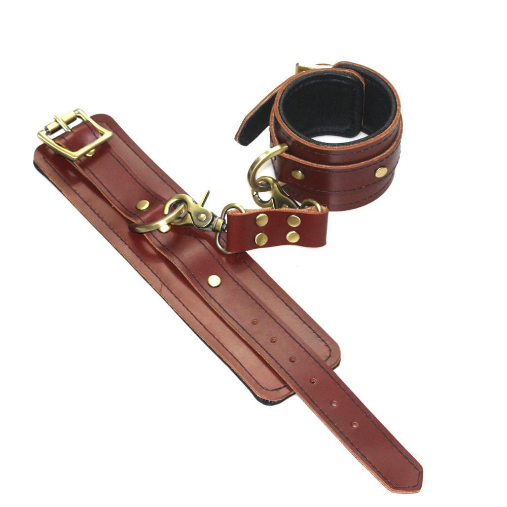 Sexy Deep Red Genuine Leather Handcuffs For Sex Eye Mask BDSM Bondage Restraints Hand Cuffs Adult Games Sex Toys For Couple in Adult Games from Beauty Health