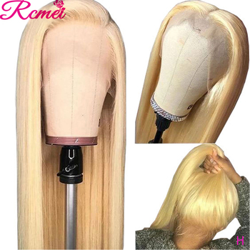 Rcmei 13x4 Glueless 613 Honey Blonde Lace Front Wig Brazilian Straight Lace Front Human Hair Wigs Pre Plucked Lace Remy Wig 150% 1