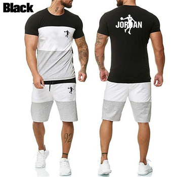 Men Splicing Tracksuit Summer Fashion Clothing Two Piece Set Sweat Suits Short Sleeve Shorts 2020 2