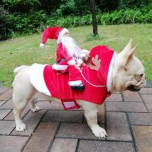 Рождественская Одежда для собак, костюмы Санта-Клауса, катания на велосипеде, оленя, котенка, щенка, рождественские вечерние аксессуары для костюмированной вечеринки, новое поступление
