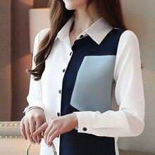 Blusas mujer de moda 2019 ladies tops chiffon blouse shirts for women long sleeve button blusas femininas solid 0185