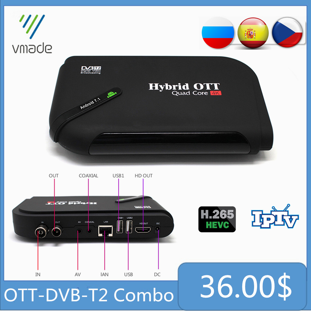 Vmade Android 7.1 OS Octa Core TV Box&DVB-T2 Terrestrial TV Receiver  1G 8G Amlogic S905D Support Netflix Hulu Flixster Youtube