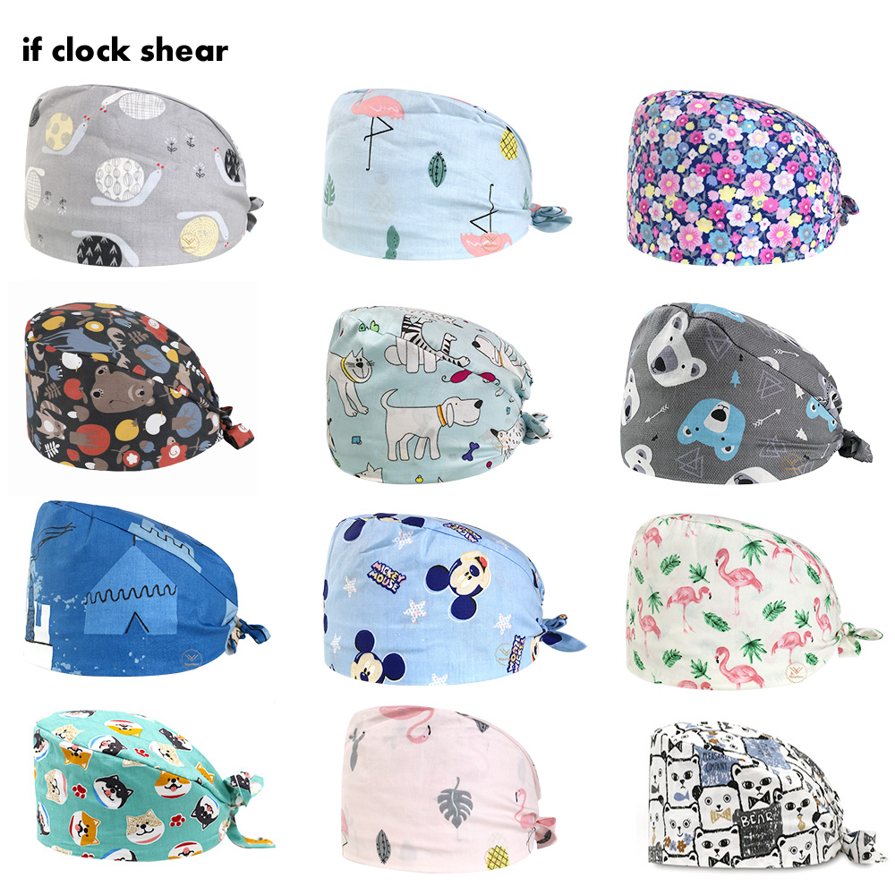Doctor Working Cap Cartoon Cotton Surgical Cap Medical Supplies Operating Room Lab Scrubs Hat Male And Female Beauty Pet Vet Cap