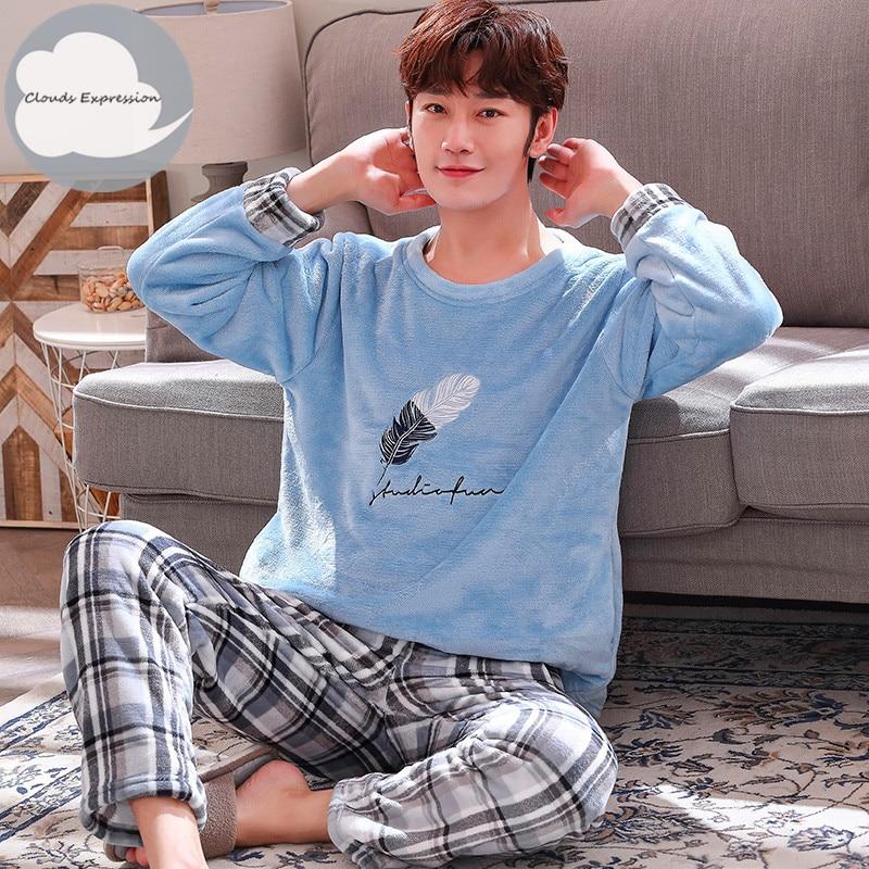 Autumn Winter Long Sleeve Warm Flannel Men's Cartoon Pajama Sets Thick Men  Sleepwear Coral Fleece Sleep Lounge Pajamas Clothing - Super Discount #30CA    Cicig