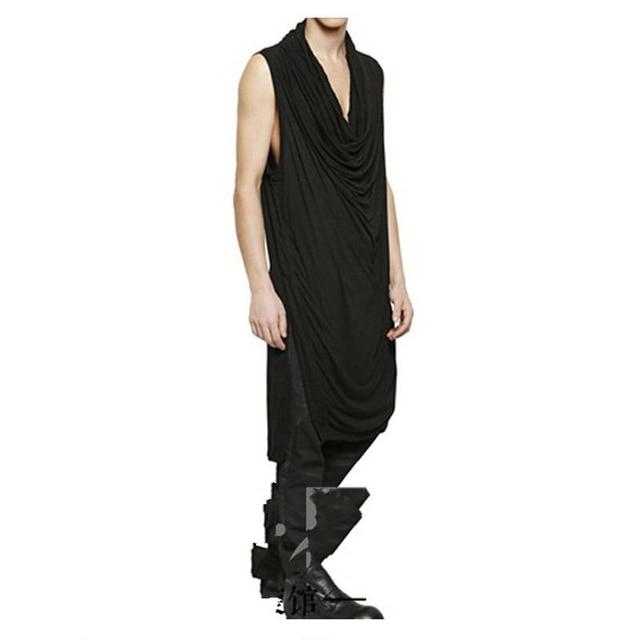 Style dété japonais et coréen mode hommes sans manches t-shirt super-longue pile bas col de chemise côté fendu irrégulier T