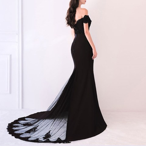 Beauty Emily Lace Navy Blue Evening Dress 2019 Beads Sequined Long Lace Up Formal Party Prom Dress Floor-length  robe de soiree Karachi