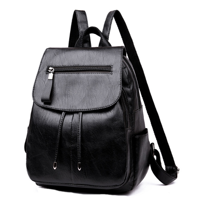 Fashion Women'S Backpack Teen Leather Fit Teen Girl Casual Black Backpack Large Capacity Female Travel