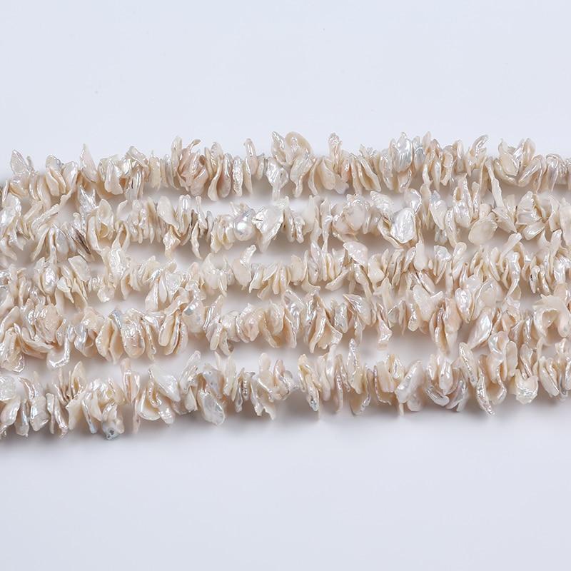 Cor branca batata chips de água doce natural keshi pérola corda
