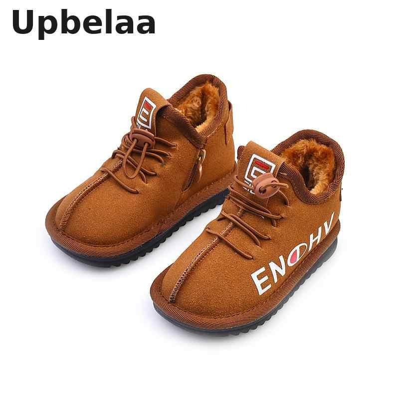Детская зимняя обувь; зимние ботинки для девочек; теплые плюшевые кроссовки для мальчиков; ботильоны; детская нескользящая обувь черного и коричневого цвета; школьная Уличная обувь на плоской подошве