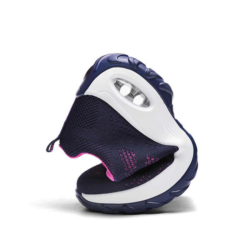 EOFK kobiety trampki jesień oddychająca platforma tkaniny buty dla kobiet trenerzy zasznurować Tenis Feminino panie kosz na buty Femme