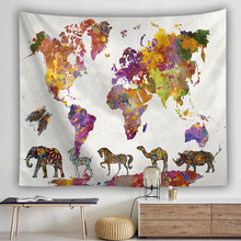 World Map Wall Hanging Tapestry Colorful animals Series Printed Cloth Tapestries Bohemia Thin Polyester Home Decoration