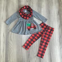 Natal das meninas do bebê OUTONO/Inverno 3 peças cachecol cinza top caminhão árvore de natal xadrez calças conjuntos de algodão crianças boutique roupas