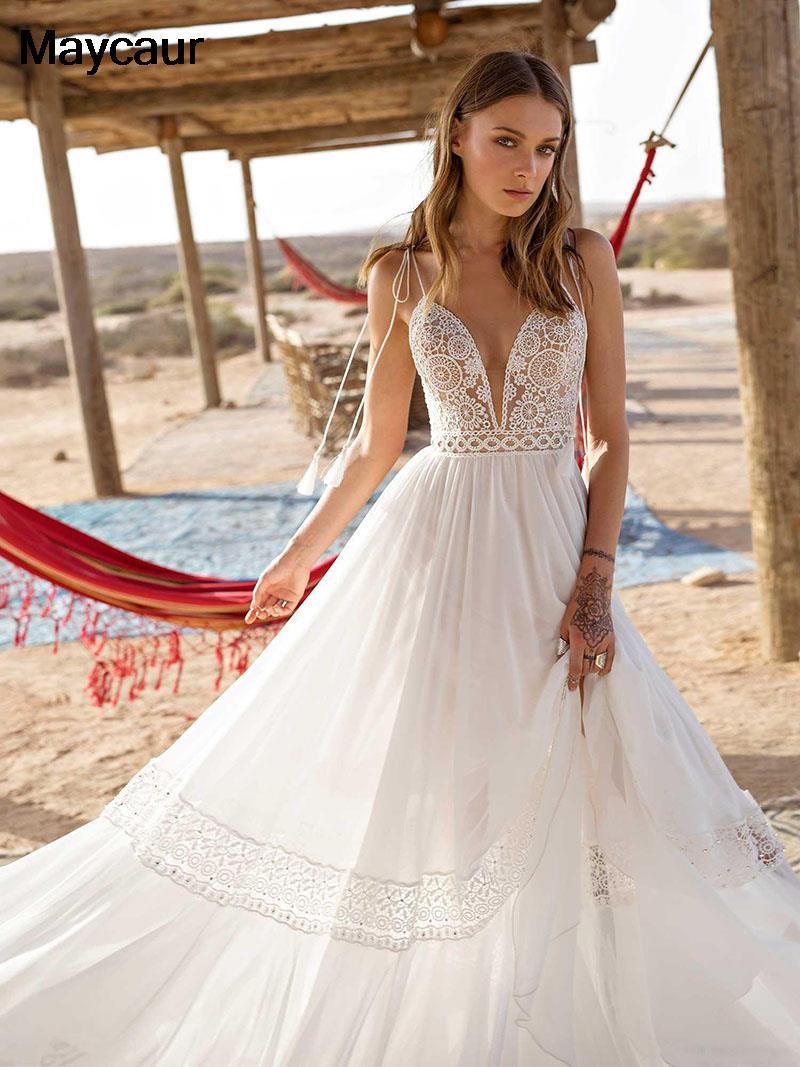 Cheap Wedding Dresses 18 Bohemian Wedding Dresses Sexy Backless Spaghetti  Straps Beach Boho Bridal Dress Chiffon Wedding