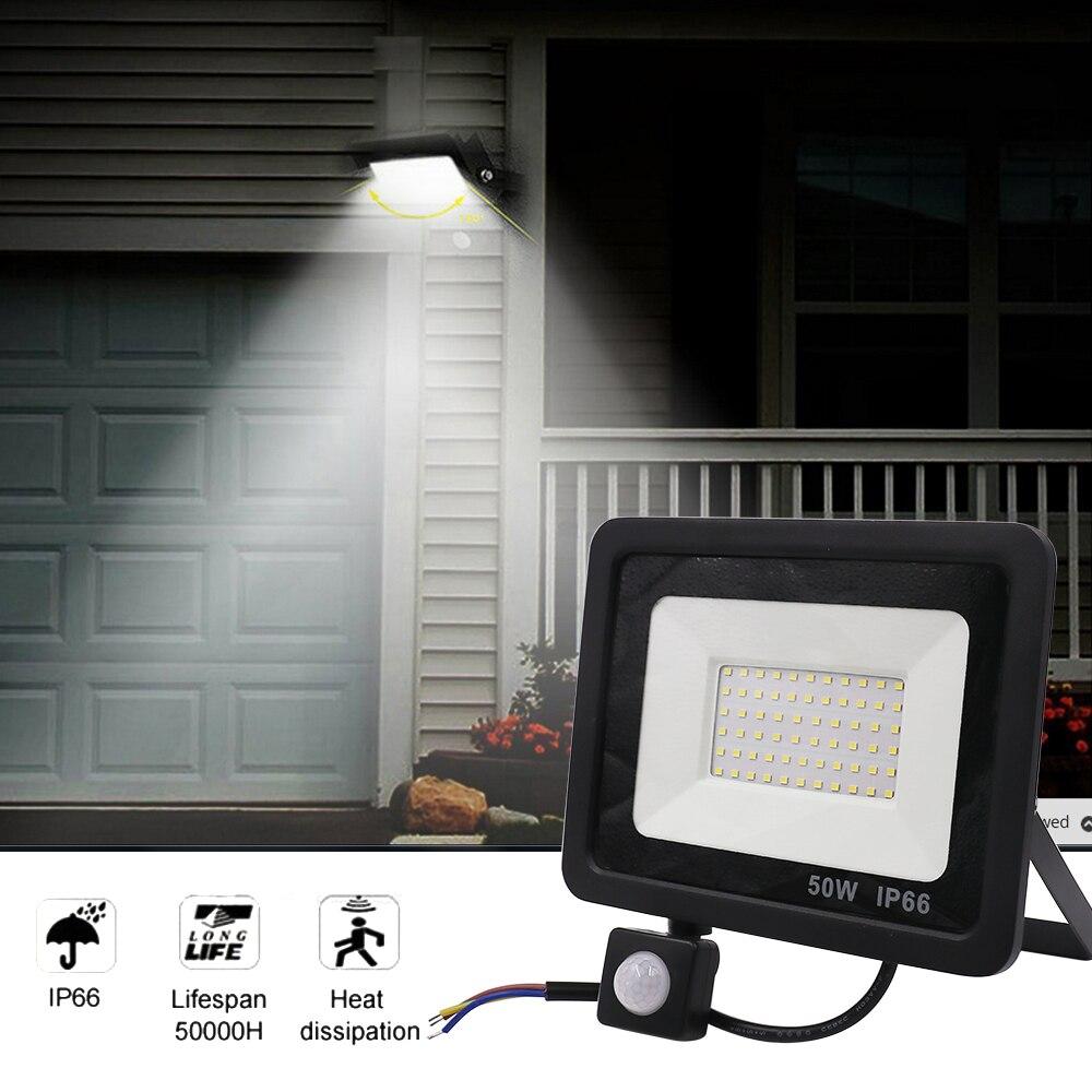 Pir sensor de movimento led holofote 10 w 20 30 50 100 ao ar livre à prova dwaterproof água conduziu a luz de inundação para a iluminação de rua do jardim