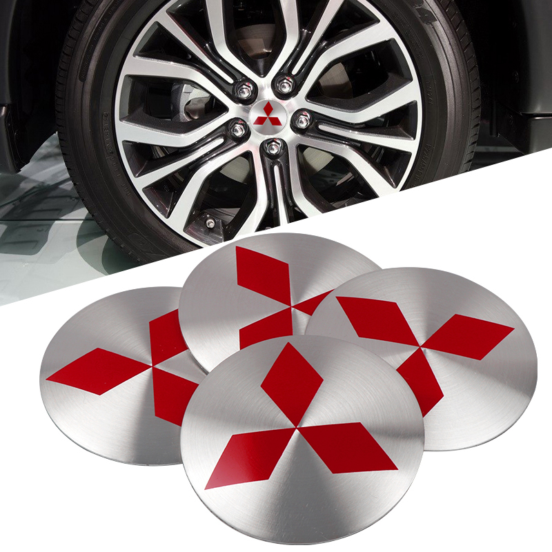 For Lancer Asx Outlander Pajero L200 Galant 3D Aluminum Alloy Car Wheel Center Hub Caps Sticker Car Styling 4Pcs