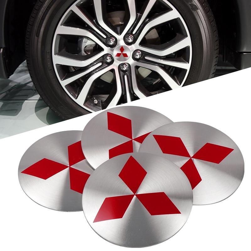 For Lancer Asx Outlander Pajero L200 Galant 3D Aluminum Alloy Car Wheel Center Hub Caps Sticker Car Styling 4Pcs