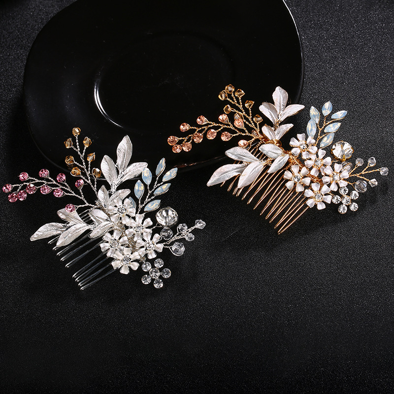 Crystal Stone Bridal Hair Combs Handmade Wedding headdress Women Hair Jewelry Clips Colorful Bridal Accessories FS130