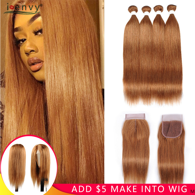I Envy Brazilian Gold Blonde Bundles With Closure Straight Colored 30 Human Hair 4 Bundles With Closure Blonde Bundles Non-remy