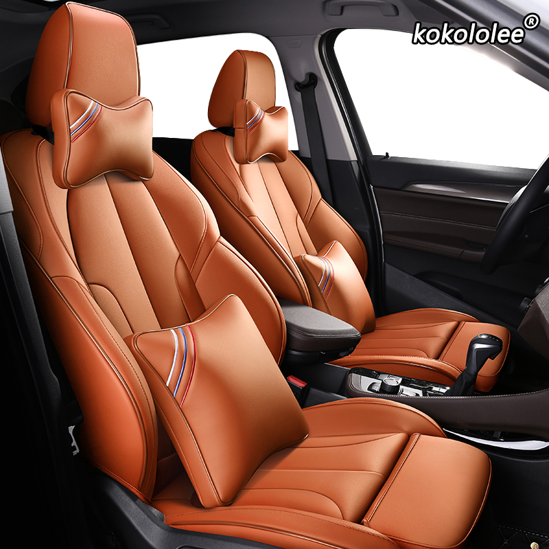 kokololee Custom Leather car seat covers set For PEUGEOT 301 307 408 308 308s 508 3008 2008 4008 5008 car seats protector image