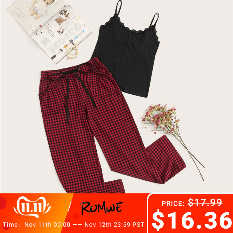 ROMWE Lace Trim Cami With Drawstring Gingham Pants PJ Set Summer Women Spaghetti Strap Sleeveless Casual Sleepwear Pajama Sets