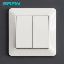 Interruptor de luz de pared SRAN estándar europeo 2Gang 1Way 10A 250V 82mm * 82mm panel de pc ignífugo interruptor basculante blanco