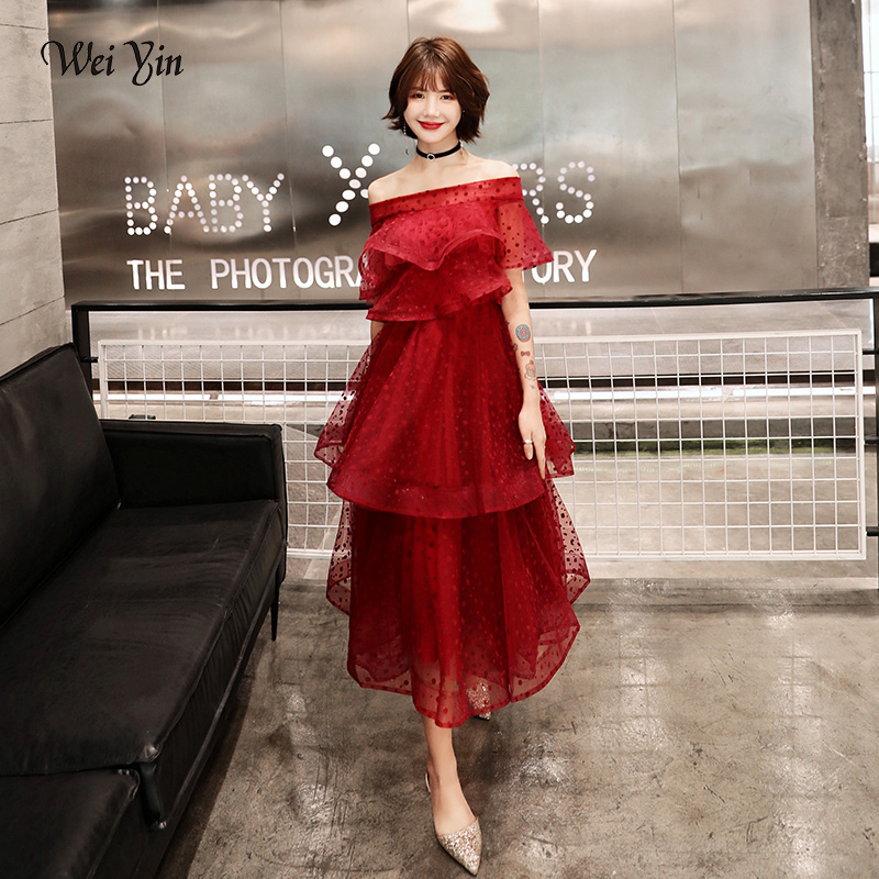 Wei Yin AE0383 Cocktail Dress Short Sleeve Cocktail Dresses Tiered Zipper Party Woman Plus Size Sexy Off The Shoulder Robe