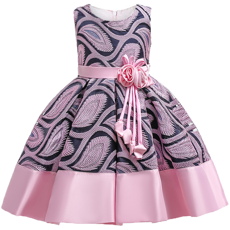 Baby Girls Flower Striped Dress For Girls Unicorn Wedding Party Dresses Kids Princess Christmas Dress Children Girls Clothing