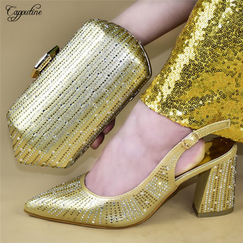 Most popular gold pointed toe spring/autumn sandal shoes and handbag set with rhinestones for party 777-2, heel height 9cm