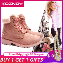 Koznoy Plush Warm  Women Snow Boots New Fashion Retro Cool Autumn Winter Boots Ladies Lace Up Heels Shoes Woman Boots Booties fedonas new warm autumn winter snow shoes woman high heels zipper short martin boots retro punk motorcycle boots 2019 new shoes
