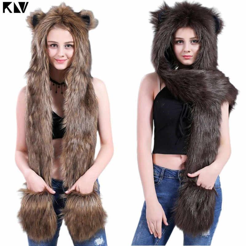 3 ใน 1 ผู้หญิงผู้ชาย Fluffy Plush สัตว์หมาป่าเสือดาว Hood หมวกผ้าพันคอ Paws Mittens ถุงมือฤดูหนาว WARM earflap BOMBER หมวก