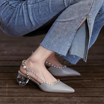 Nice Vogue Block Crystal Heel Leather Women's Shoes,Pearls Rivets High Heels,Poined Toe Pumps,Back Hollow Out,GREY,Dropship