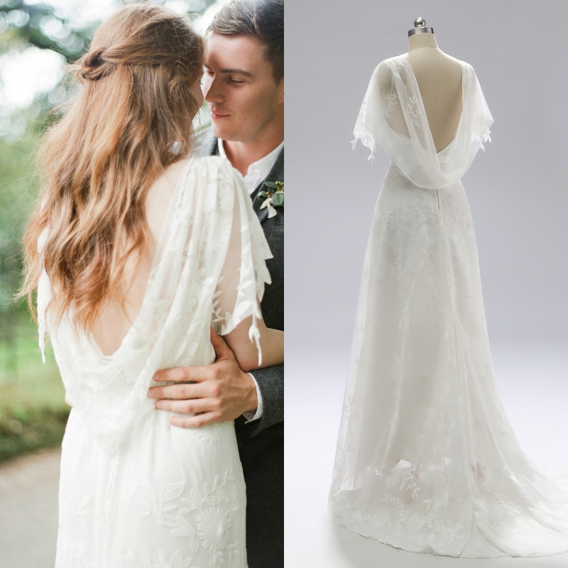 Simple Lace Light Outdoor Bride Wedding Dress Vintage Cap Sleeve Flower Lace Tulle Brush Train Evening Dress