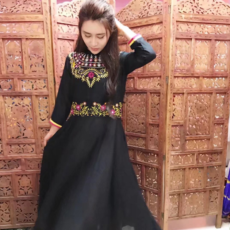 Foreign Lands Style Suit-dress Summer Wear Cotton Dress Three-dimensional Embroidery Longuette