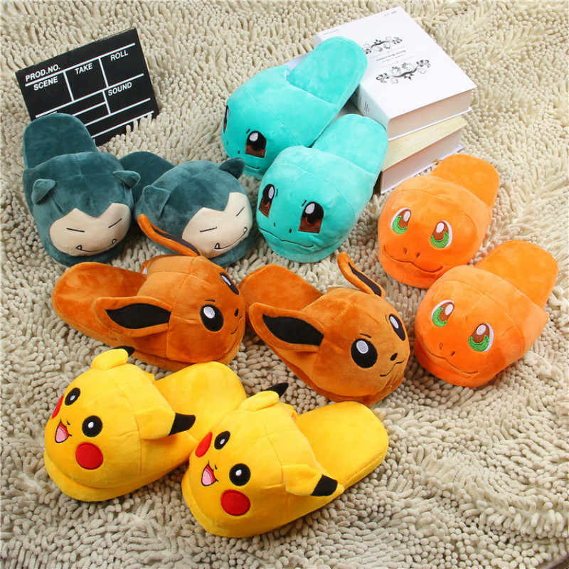 Dropshipping Vrouwen Anime Cartoon Pokemon Slippers Liefhebbers Warme Vrouw Slippers Elf Bal Pikachu Go Pluche Schoenen Thuis Huis Slippers