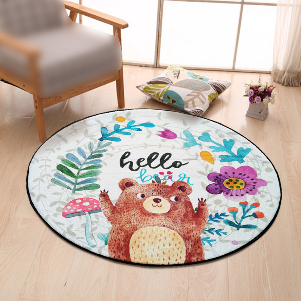 Cartoon Magic Circle Bear Printed Puzzle Mats Children Round Carpet Diameter 80CM Baby Play Mat Area Rug Anti-slip