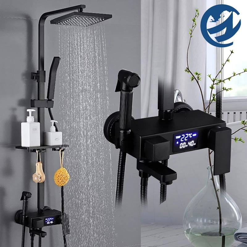 Ha9d8b5d0844147fab40ae48135e08702X Thermostatic Digital Display Shower Faucet Set Shower Mxer Crane Rain Shower Bath Faucet Bathtub Shower Mixer Taps Bidet Faucet