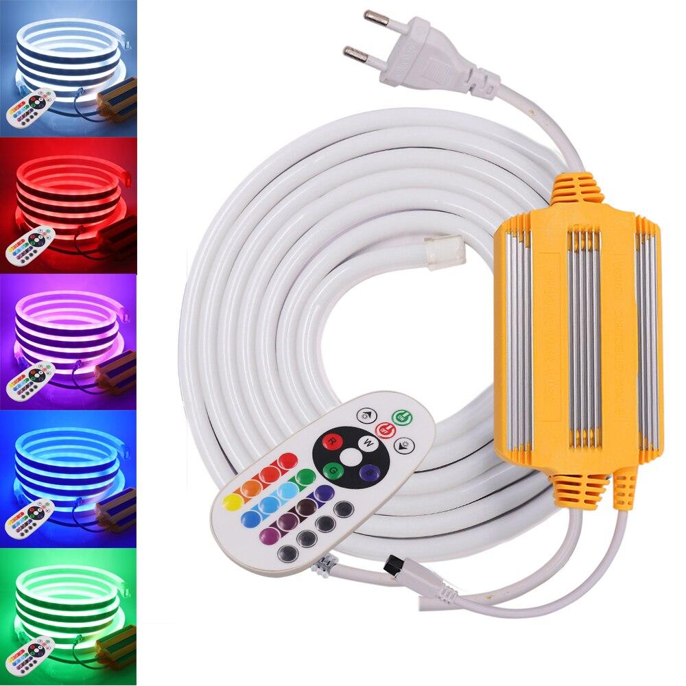 Tubo flexível de tiras de luz neon, ac 220v 5050 rgb rgb 120leds/m à prova d água neon sign corda 24key ir 1500w rgb controlador tiras led