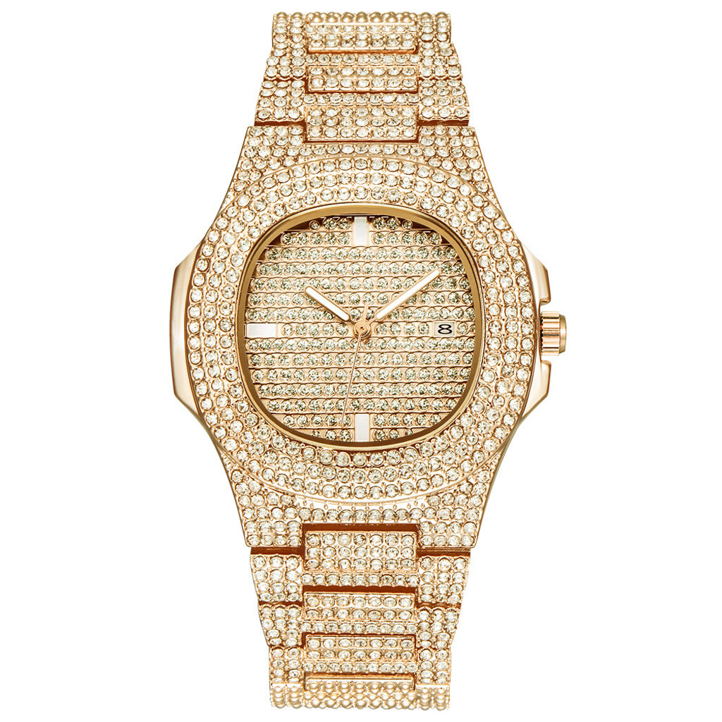 Diamond Watch Silver stainless steel Luxury Gift Full Diamond Watch For dropshipping male watch women watches top brand luxury in Women 39 s Watches from Watches