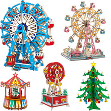 DIY 3D Laser Cutting Wooden Ferris Wheel Puzzle Game Gift for Children Kids Model Building Kits Hand Made Jigsaw Toy wooden 3d building model toy gift wood puzzle hand work assemble game woodcraft construction shaolin temple kungfu monastery 1pc