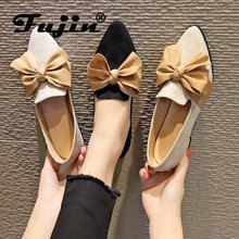 Fujin Bow Knot Bullock Shoes Casual 2019 New Thick Heel Low Lazy Women Dropshipping