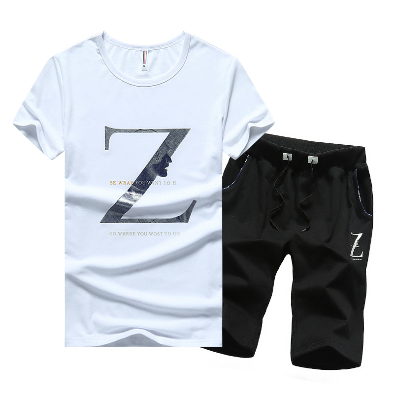 2017 Sports Set MEN'S Short-sleeved T-shirt Men's Two-Piece Set Men Summer Teenager Large Size Men'S Wear Leisure Suit