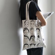Simple Women Package Elegant Canvas Bag Handbags Printing Art Reusable Shoulder Bags Handle Shopping 9.17